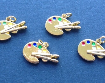 Artist Pallet Charm (4), Red, Blue, Green and Yellow Enamel Charm, Gold Plated