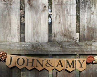 Customised wedding garland with a rustic theme.