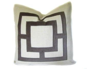 Gray and Off-White Pillow Cover