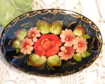 Vintage Hand Painted Russian Laquer Pin Brooch