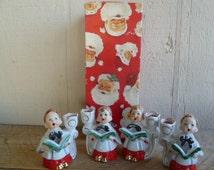 Choir Boys Candle Holders Figurine Set of 4 Sears Japan in Box