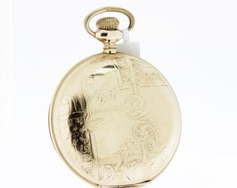 1889 Gold Filled Elgin Pocket Watch with Floral Lattice Pattern