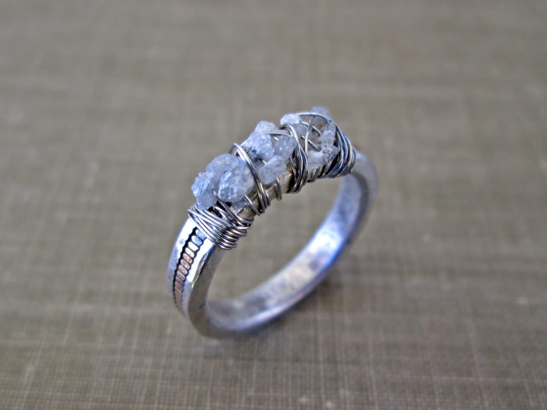 Raw Diamond Ring // Uncut Diamond Ring // By TheChestnutForge