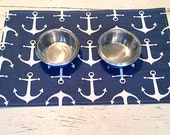 Blue Pet Placemat, Nautical Modern Dog Placemat, Pet Feeding Station, Anchor Dog Bowl Mat, Cat Bowl Mat