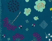 Cotton and Steel Mochi Collection Floral Teal Cotton Lawn 0.5m Yardage