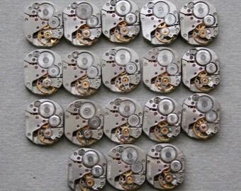 "5/8"" x 1/2"" . Set of 18 Similar Vintage Soviet Watch movements , steampunk parts , cuff links supplies"