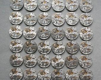 "6/8"". Set of 36 Vintage Watch movements , steampunk parts"