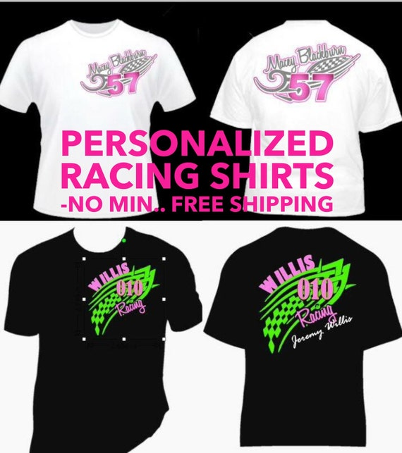 Items similar to personalized racing shirts design your for Custom personal trainer shirts