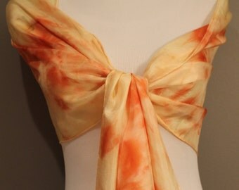 "Hand painted silk scarf  abstract shades of Apricot and yellow 14""x72"""