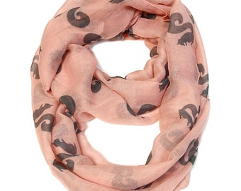 Squirrel Infinity Scarf - Pink
