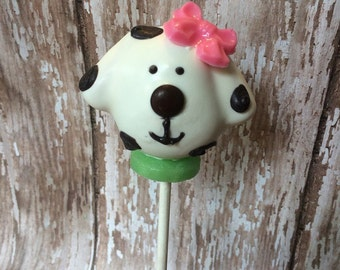 12 Puppy Dog Cake Pops Birthday Party Favors Sweets Table Candy Buffet Chocolate firmen fireman spots