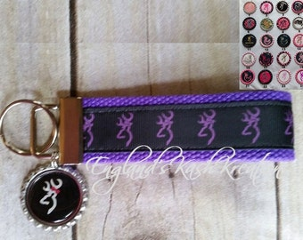 Browning Purple Buck Head Keyfob W/Browning Bottlecap Charm