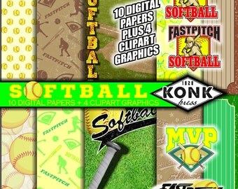 10 Digital Papers Softball Theme + 4 Clipart Pieces in png, scrapbook paper, JPG, 300 dpi, 12x12 inch papers