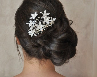 Bridal comb flower, pearls of culture and Crystal, jewelry wedding