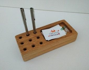 Oak Desk Organiser Pen holder Handmade
