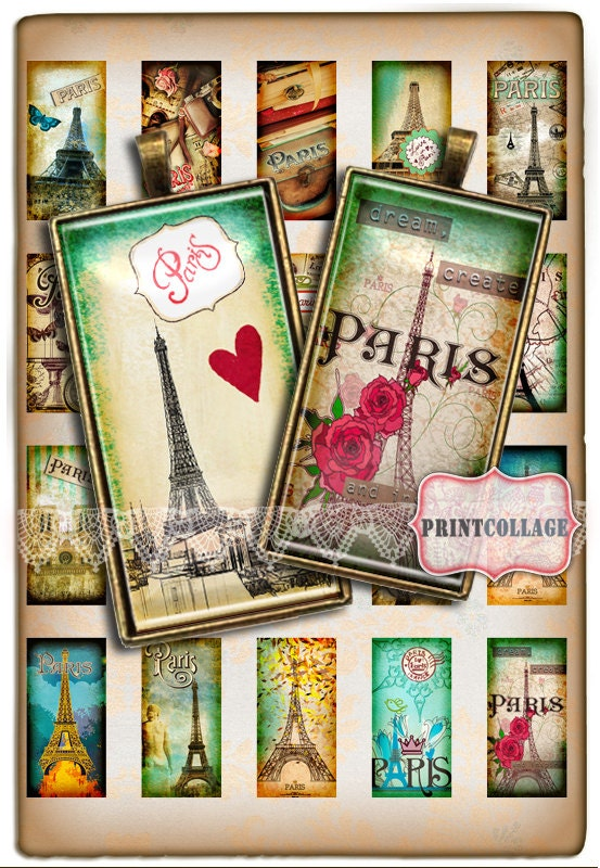 paris eiffel tower domino pendants digital collage sheet 1 x 2 inch printable images jewelry. Black Bedroom Furniture Sets. Home Design Ideas