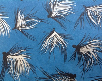 Vintage 50s silver black blue silver all occasion gift wrapping paper