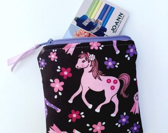 Coin Purse Pony/Horse Change Purse/Zipper Pouch Horses/Pony Card Holder/Girls Coin Purse/Kids Coin Purse/Ready to Ship