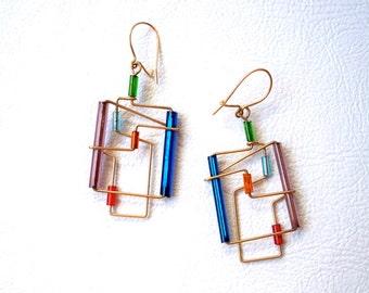 Minimilast Gold Wire Wrap Glass Beaded Sleek Earrings. Blue, pink, green, purple, orange, red.