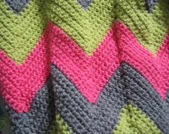 Pink, Green and Gray Chevron Crocheted Baby Blanket---Ready to Ship!!
