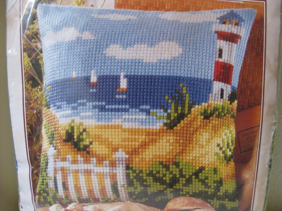 Modern Cross Stitch Pillow Kits : Needlepoint Pillow Kit Vervaco Lighthouse Kit Cross Stitch