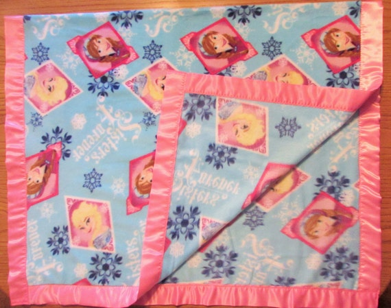 Frozen fleece toddler blanket with satin edge