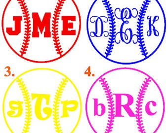 3 11 inch monogram baseball decal monogram softball car decal monogram sticker vinyl letters monogrammed gifts
