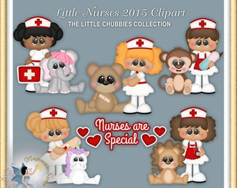 Little Nurse Clipart 2015, Chubbies, medical, hospital, digital scrapbook, clip art