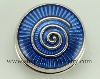 Blue Spiral SNAP Jewelry - Snapdragon Jewelry, Noosa Chunk, Popper, Button, Charm