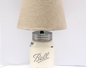gallon sized mason jar lamp with linen shade antique white distressed table lamp