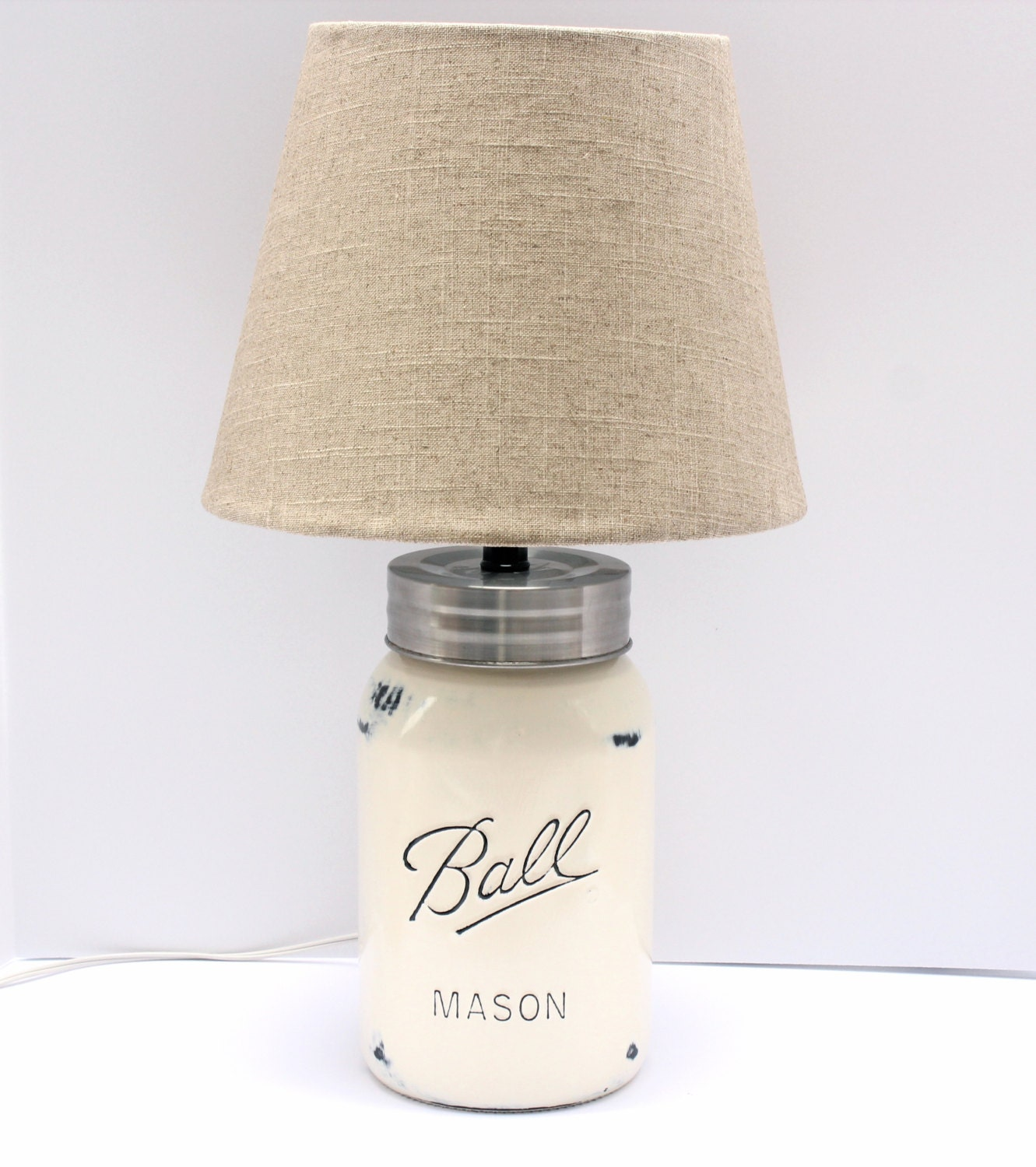 gallon sized mason jar lamp with linen shade antique white. Black Bedroom Furniture Sets. Home Design Ideas