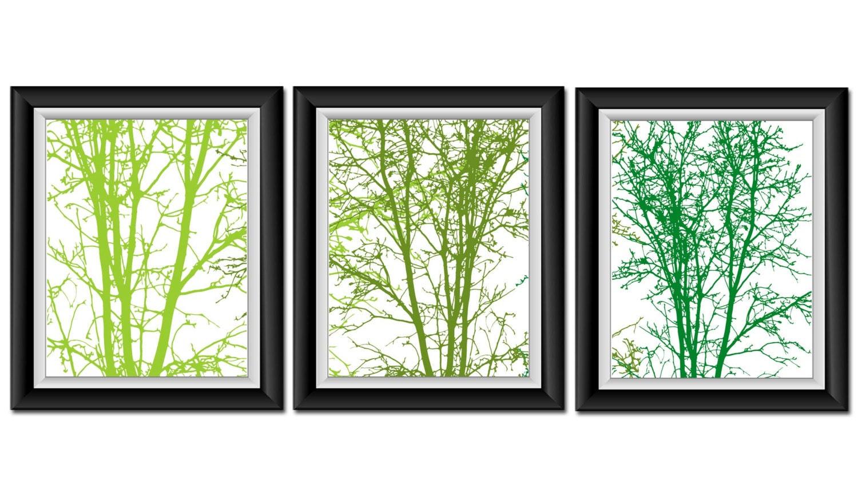 Tree wall decor lime moss green set of 3 print abstract art for Lime green wall art