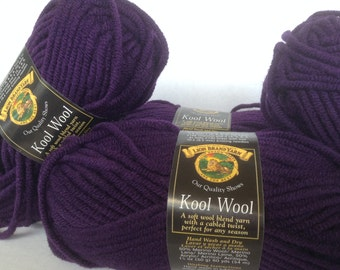 Lion Brand Yarn, Lion Brand Kool Wool, Kool Wool, Yarn Lot, Eggplant Kool Wool, Wool Blend Yarn, Lion Brand Bulky, Bulky Yarn, Purple Yarn