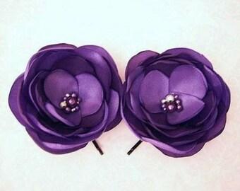Purple Hair Flowers Floral Hair Pins Purple Bridesmaids Gift Purple Violet Hair Flower Girl Purple Hair Slides Purple Bobby Pins - Set of 2