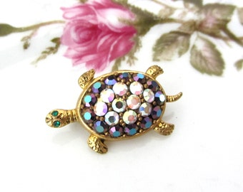Vintage Western Germany AB Rhinestone Turtle Brooch Pin