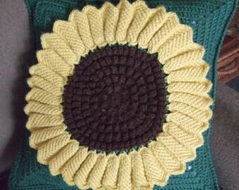 Crochet Sunflower Pillow Case
