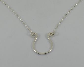 Sterling Silver HORSESHOE Necklace Pendant Hammered Handmade in UK