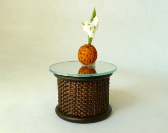 end table woven base dollhouse miniature 1/12 scale