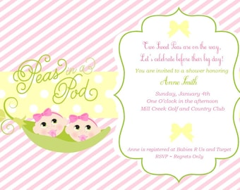 Sweet Pea Invitation - Two Peas in A Pod Invitation Baby Girl Shower Invitation - Baby Shower Invitation - Pink Green and Yellow - Twins
