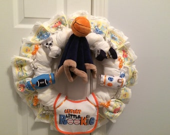 Baby boy sports themed diaper wreath