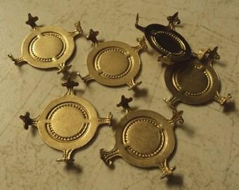 25mm round turtle prong Fleur des lis settings 6 pieces lot l
