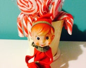 Sweet vintage Christmas elf. 1950's kitsch Christmas.