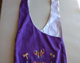 Handmade Upcycled Purple With Patches Hobo Shoulder Purse