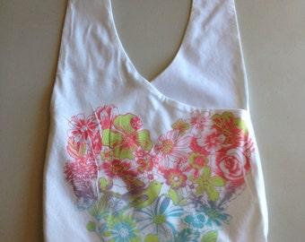 Handmade Upcycled Floral Heart Hobo Shoulder Purse
