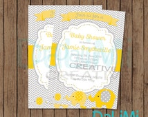 5 x 7 Elephant Baby Shower Invitation - Bright invitation - Printable Invitation - Personalised - Digital File!