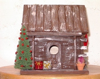 Rustic Log Cabin Country  Christmas Decorative Birdhouse