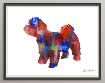 maltipoo art print watercolor print  silhouette painting print poster wall art decor drawing, dog wall art poster