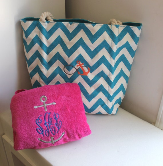 Personalized Tote and Towel Set Beach Bag & Beach Towel