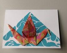 Blank Oragami Crane Note Card with Envelope