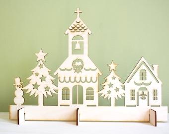 Christmas Church Village Scene, Laser Cut Rustic Wood, Decoration for Holidays